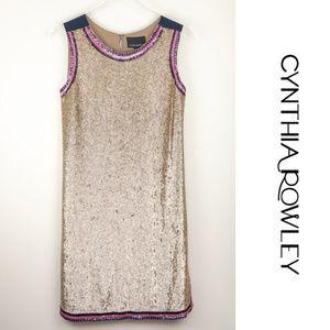 NWT Cynthia Rowley Metallic Gold Sequin Dress 4